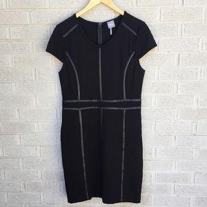 Bobi Cap Sleeve Faux Leather Trim Black Dress